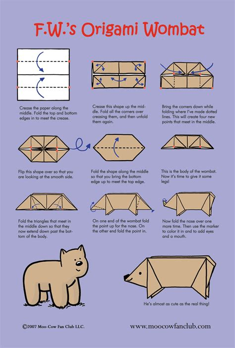 origami australian animals los wombat origami easy and craft