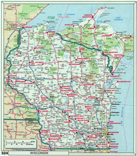 driving map of wisconsin large roads and highways map of wisconsin state with