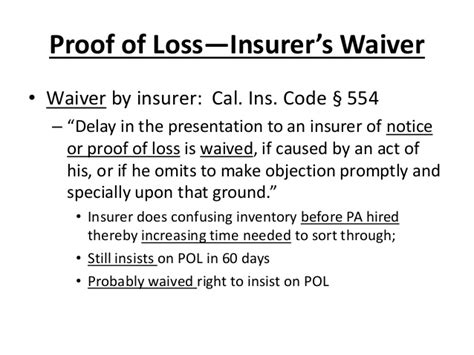 Mba Programs In California Tat Waive Te Mat by Presentation Proof Of Loss The Road To Bad Faith