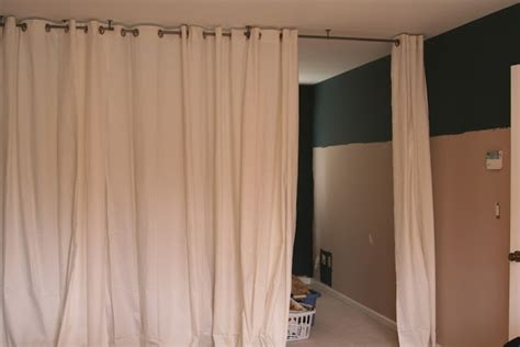 curtain rod for room divider curtain room divider diy these people used a ceiling