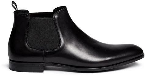 giorgio armani low cut leather chelsea boots in black for