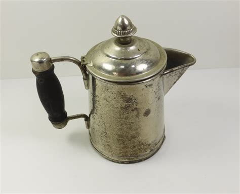 Antique Coffee Pot with Wood Handle Small Metal Hinged Lid