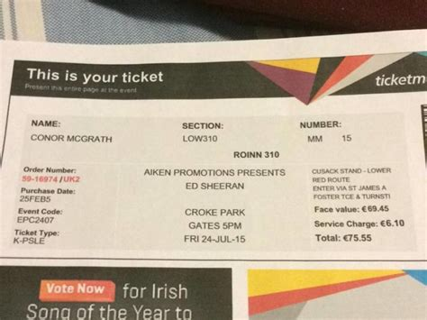 ed sheeran us bank tickets ed sheeran ticket for sale in swords dublin from mcgrath 96