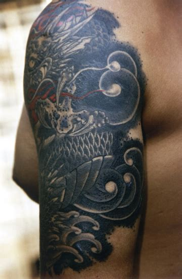 troy denning tattoo black and grey quarter sleeve by troy denning