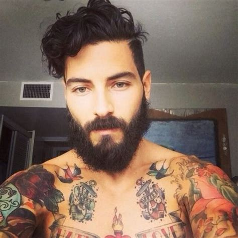 tattoos for hairy men beard tattoos curly hair muscles guys