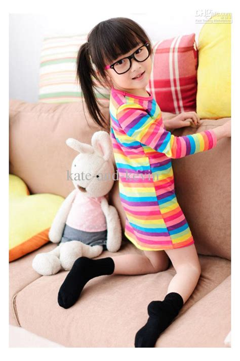 Dress Anak Korean Rainbow baby clothing korean design rainbow striped t shirt the dress from kate and kevin 28 8