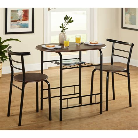 Kitchen Bistro Table Wood Pub Bistro Small Bar Chairs Table Kitchen Nook Storage 3 Dining Set Ebay