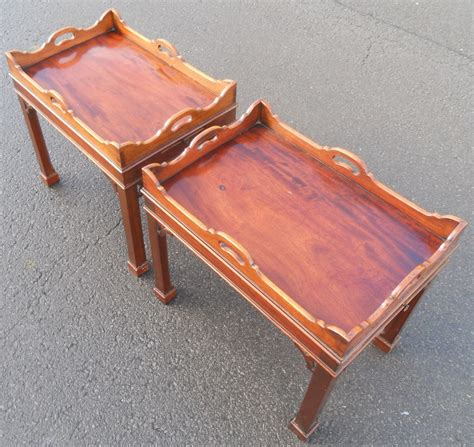 tray top coffee table furniture pair mahogany tray top coffee tables