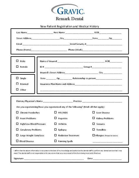 patient history template dental patient history form 183 remark software