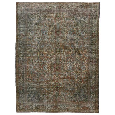 Distressed Area Rug Distressed Vintage Mahal Area Rug With Modern Industrial Style For Sale At 1stdibs