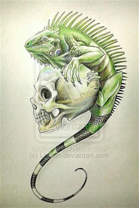 iguana tattoos designs iguana and skull