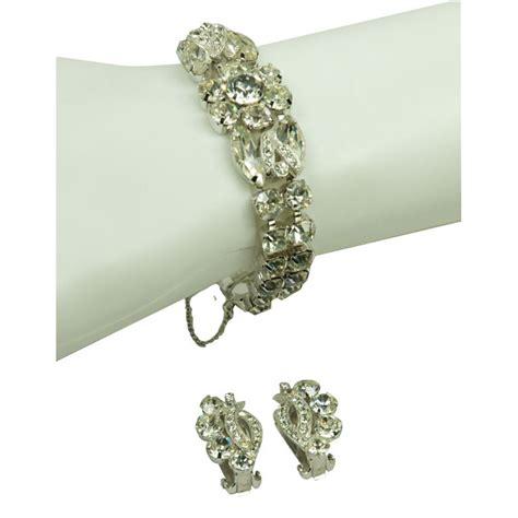 VINTAGE EISENBERG GLAMOR RHINESTONE BRACELET & EARRINGS For Sale   Antiques.com   Classifieds