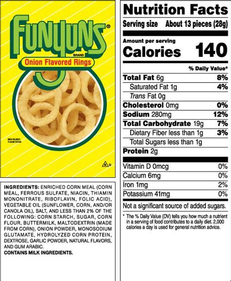 hot chips ingredients funyuns 174 onion flavored rings