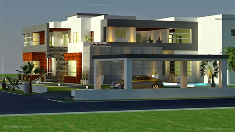 Modern House Plan 3d Front Elevation 500 Square Meter Modern