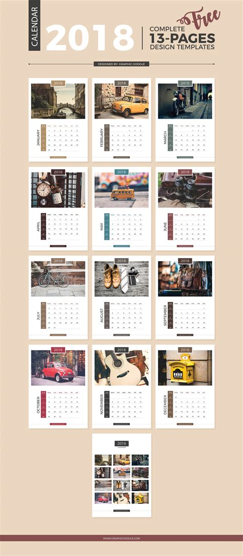 calendar templates for photoshop cs6 free 13 pages complete 2018 calendar design templates