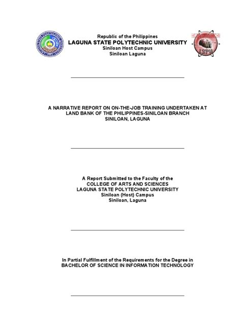 Exle Of Parents Consent Letter For Ojt Format Ojt Narrative Report Workplace