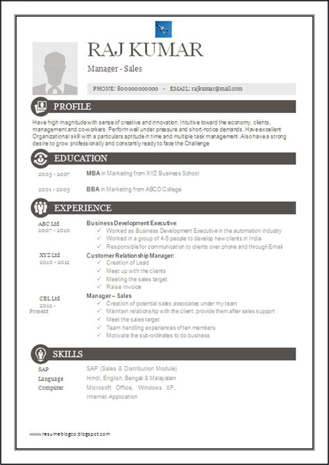 resume co one page excellent resume sle for mba sales marketing manager 7