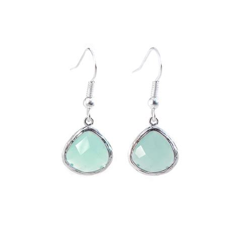 turquoise matte silver drop earrings