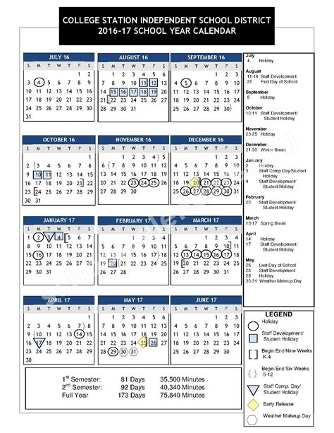 College Calendar 2016 2017 School Calendar College Station Independent