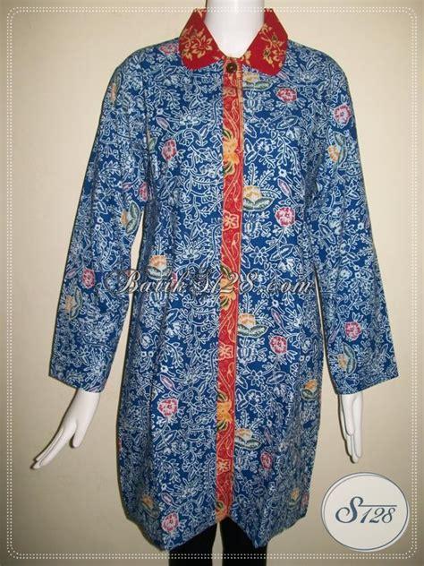 Blus Batik Biru Xl blus batik kombinasi warna biru batik cap colet untuk kerja kantor wanita berhijab model