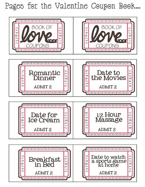 black and white printable love coupons imprimibles y diy cupones del amor para san valent 237 n