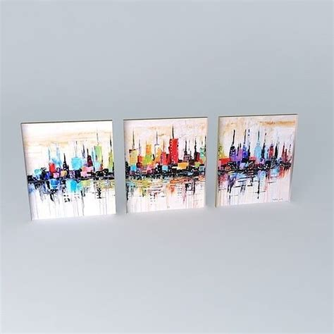 Painting 3d Model by Triptych Painting Abstract City 3d Model Cgtrader