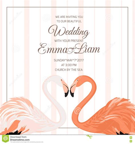 wedding ceremony invitation flamingo couple heart stock