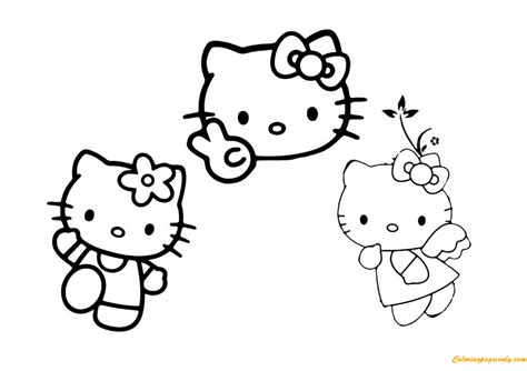 coloring pictures of hello kitty and her friends hello kitty with her friends coloring page free coloring
