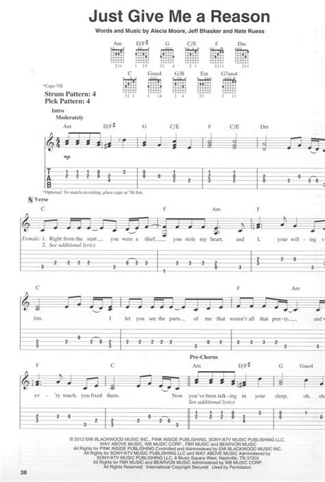 tutorial guitar just give me a reason today s women of pop rock gitarre noten tab easy guitar