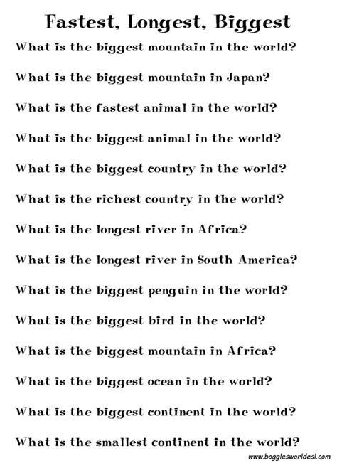 easy printable animal trivia boggle s world esl worksheets for kids