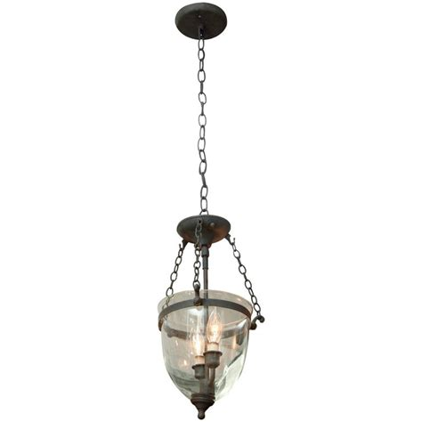 Bell Jar Pendant Light by 1930s Bell Jar Pendant Light With Bronze Finish For