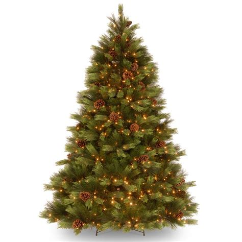white pre lit tree 7 5 ft feel real white pine hinged pre lit tree clear lights trees at