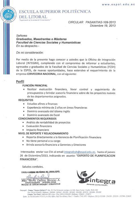 Modelo Curriculum Financiero De Publicaciones De La Fcsh Espol 187 2013 187 Diciembre