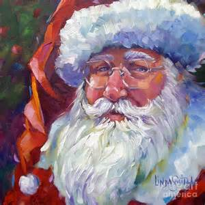 Colorful Duvet Colorful Santa Painting By Linda Smith