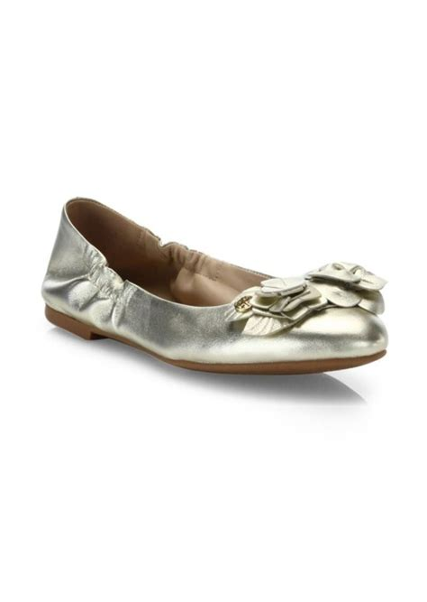 burch sale shoes flats burch burch blossom metallic leather ballet