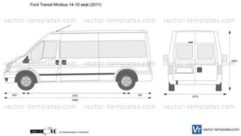Templates Cars Ford Ford Transit Minibus 14 15 Seat Ford Transit Vector Template