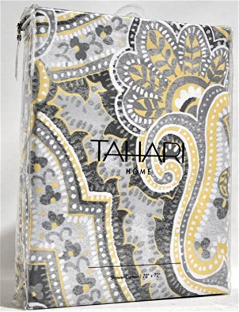 gray paisley shower curtain tahari luxury cotton blend shower curtain yellow gray