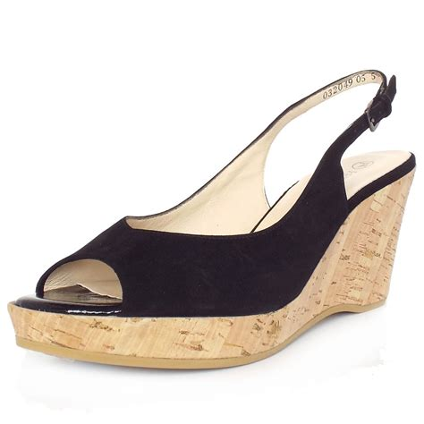 kaiser bobby black suede wedge summer shoes