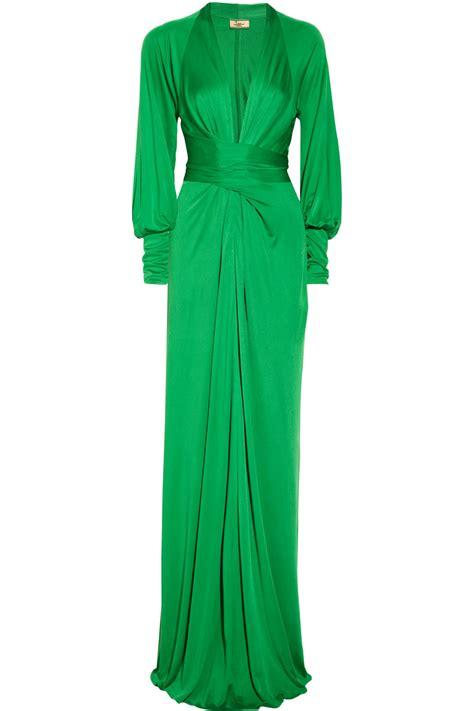 Greeny Maxi Dress lyst issa silk jersey maxi dress in green