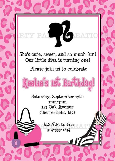 printable invitations barbie cut birthday party invitation for your little diva kids