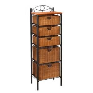 sei iron wicker five drawer unit storage chests