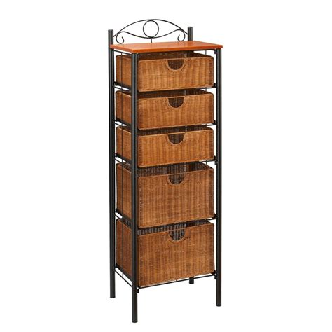 sei iron wicker five drawer unit storage chests