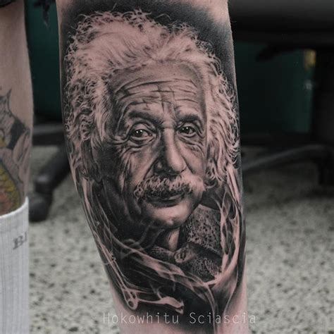 albert einstein portrait tattoo on sleeve