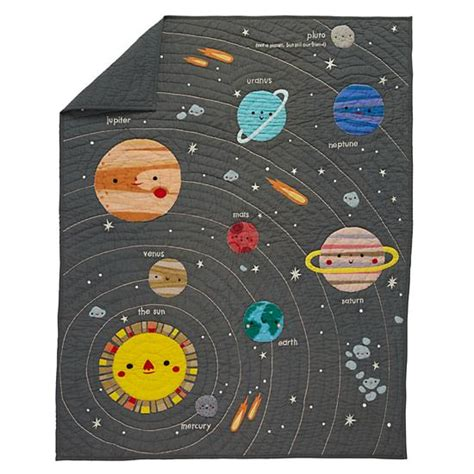 space crib bedding deep space baby quilt the land of nod
