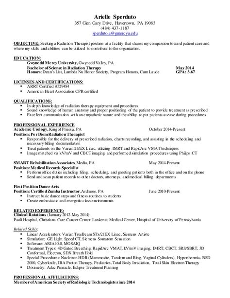 Radiation Oncology Sle Resume by Therapy Resumes Anuvrat Info