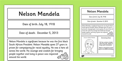 write a biography about nelson mandela nelson mandela significant individual fact sheet fact sheet