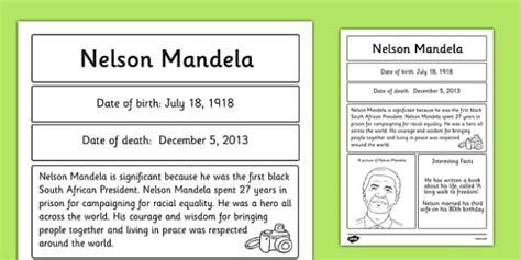 write a biography of nelson mandela nelson mandela significant individual fact sheet fact sheet