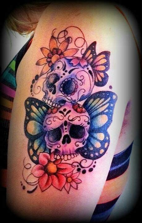 colorful skull tattoo designs girly skull tattoos with flowers