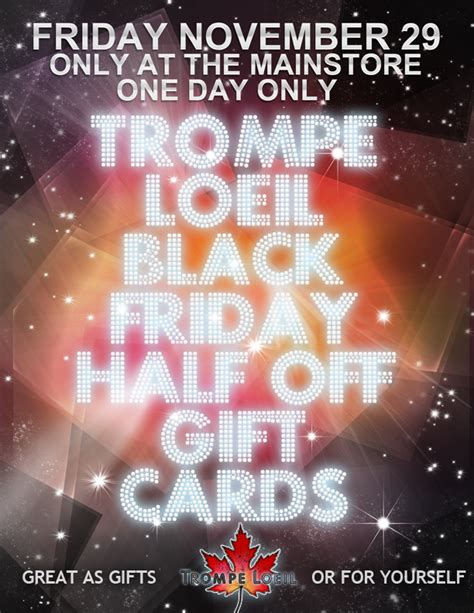 Gift Cards Half Off - black friday gift card sale 50 off friday only trompe loeil