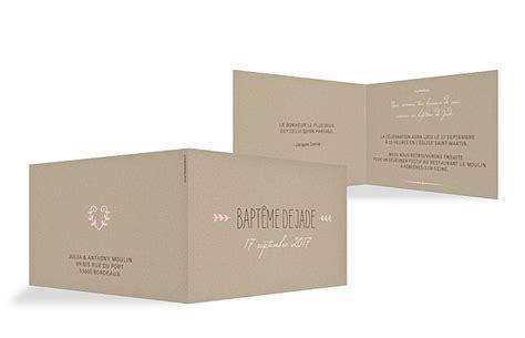 Format Hochzeitseinladung by Faire Part Bapt 234 Me Quot Effet Kraft Quot